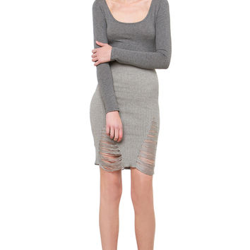 Ready Or Not Distressed Skirt - Grey