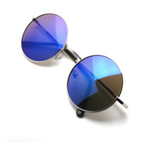 John Lennon Inspired Sunglasses Round Hippie Shades Retro Reflective Colored Lenses