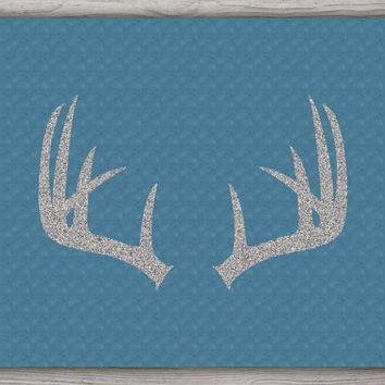 Blue Deer Antler Print, Silver Print, Deer Antler Decor, Blue Wall Decor, Deer Print, Silver Antler Wall Art, Antler Decor, INSTANT DOWNLOAD