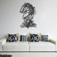 ik1584 Wall Decal Sticker chess knight armour flowers harness bedroom living