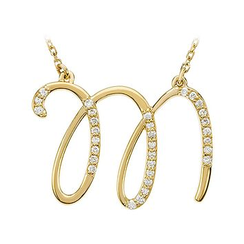 1/6 Ct Diamond 14k Yellow Gold Medium Script Initial M Necklace, 17in
