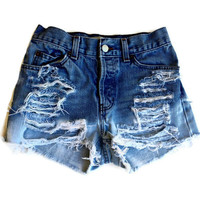 Custom Made High Waisted Shorts Bleached and Ripped Any Size Hipster Tumblr Grunge