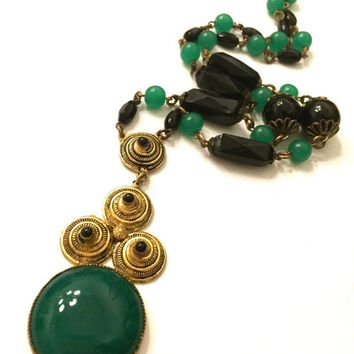 Big Holiday Sale Art Deco Czech Glass Necklace, Green and Black Glass Beads, Gilded Brass Discs, Large Deep Green Glass Cabochon Pendant, 19