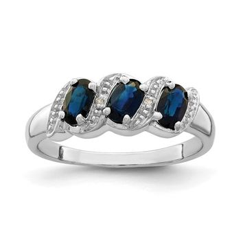 Sterling Silver Genuine Blue Sapphire Oval 3 Stone And Diamond Ring