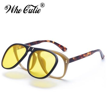 WHO CUTIE Brand 2018 McQregor pilot Style Flip Up Sunglasses Vintage Retro Steampunk Yellow Clip On Sun Glasses Men Women 487