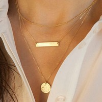 3 Layers Bar Rounded Sequin Geometry Necklace