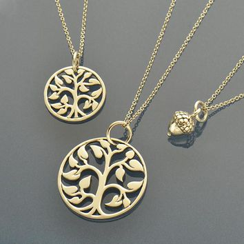 Growth Charm Necklaces - Acorn, Med and Small Tree of Life
