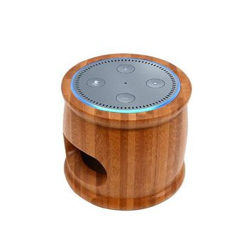 ONETOW Natural Solid Bamboo Wood Stand Holder for Alexa Echo Dot No Messy Wires or Screws,Compact Holder Case Plug in Kitchens, Bathroom And Bedroom