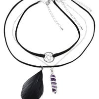 Blackheart Pentagram Feather & Crystal Choker Set