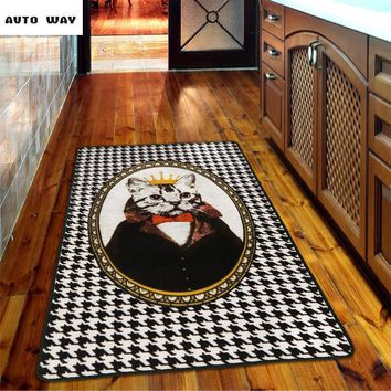 Autumn Fall welcome door mat doormat Original Houndstooth Retro Cat Home  Entrance mats Bedside blanket Non-slip carpet Sofa coffee table rug  shipping AT_76_7