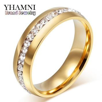 YHAMNI Fine Jewelry Never Fade Pure Gold Color 316l Stainless Steel Ring Titanium Steel CZ Diamant Engagement Wedding Ring R05S