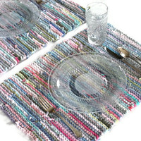 Artisan Placemats Knitted Upcycled T Shirts Cottage Pink Aqua Blue Green Gray (set of 2) French Country Trivets --US Shipping Included