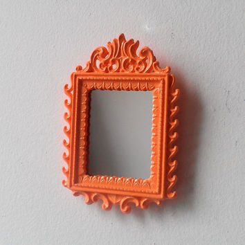 Framed Wall Mirror in Miniature Vintage Summer Peach Frame