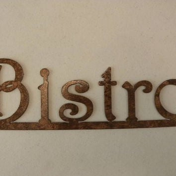 Bistro Word on Bar Antique Copper Finish Kitchen Decor Metal Wall Art