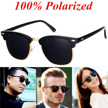 BOYEDA Brand Sunglasses Polarized Vintage Half Frame Retro Glasses for Men Round Classic UV400 Mirror Designer Sun Glasses Women