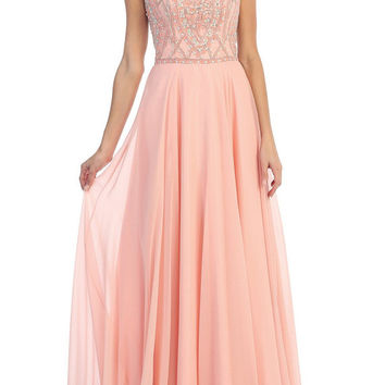 Blush Crystal Long Prom Dress
