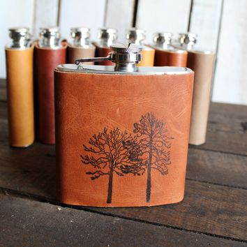 *Customizable* Two Trees Leather Hip Flask