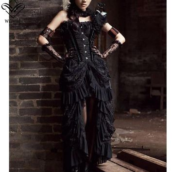 Wechery Sexy Vintage Long Maxi Steampunk Skirts Punk Midi Gothic Skirt Only elasticity pleated Women Black Skirts Tulle