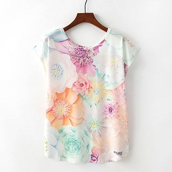 Cute Flower All Over Print Floral Flowy Loose T-Shirts