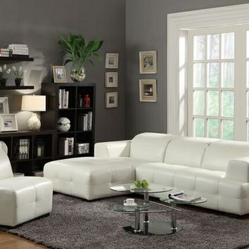 Coaster 503617 2 pc darby collection modern style white bonded leather upholstered sectional sofa with adjustable headrests