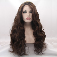 """The """"Lana"""" 22"""" Two Tone Brown Sythetic Lacefront Wig"""