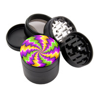"Shocker Spin Illusion - 2.25"" Premium Black Herb Grinder"
