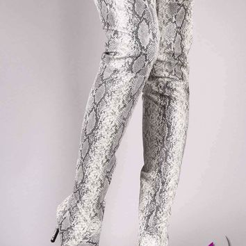 Wild Diva Lounge Snake Embossed Pointy Toe Over-The Knee Stiletto Boots