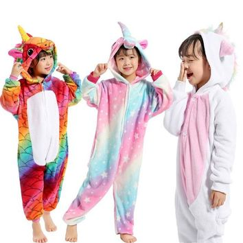 Children Pajamas Unicorn Winter Pajama Cartoon Animal Sleepwear Onesuit Kids Costume Fleece Warm Flannel Kids Blanket Sleepwear