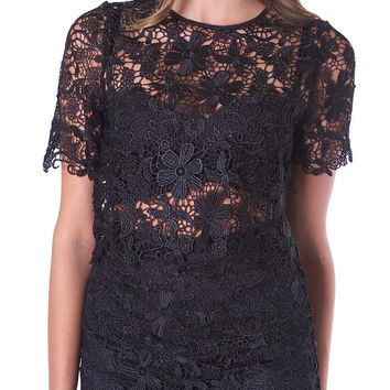 Signature Lace Crop Top - Black