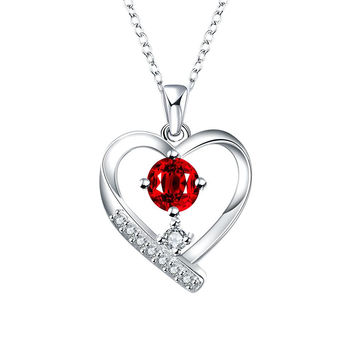 Tiffany Inspired Mock Ruby Hollow Hearts Necklace