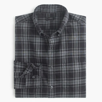 J.Crew Mens Secret Wash Shirt In Heather Black Plaid