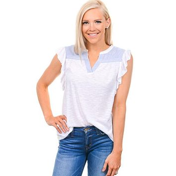 White Flutter Sleeve Contrast Top