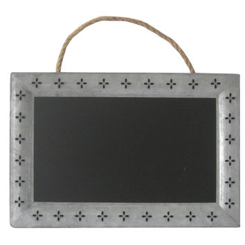 Galvanized Metal Frame Chalkboard with Cutout Petals And Hanging Rope