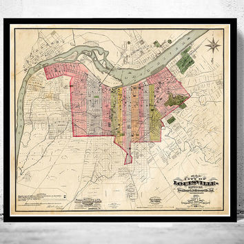 Old Map of Louisville Kentucky 1898