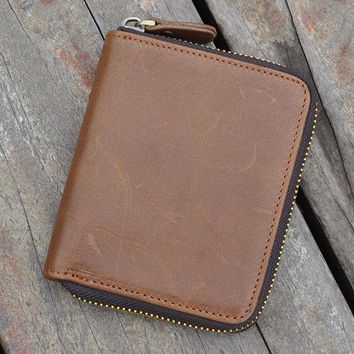 Vintage Genuine Leather Coin Bag Trifold Wallet For Men