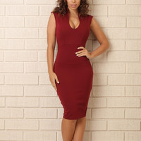 Status Quo Dress - Burgundy
