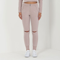 Zip Front Jogger - Blush Nude