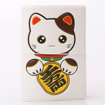DCCKU62 Maneki Neko Fortune Cat 3D Design Fashion Passport holder Cover ID package Travel Accessories Ticket Protective Case Gift