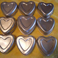 Vintage 1960s Set of 4 Heart Shaped Baking Tins/Molds by ZoeAmaris