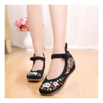 Old Beijing Embroidered Sunflower Black Shoes for Women in National Style with Floral Designs & Straps