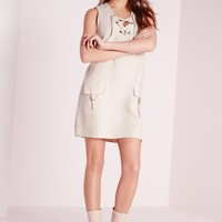 Missguided - Faux Suede Lace Up Shift Dress Ivory