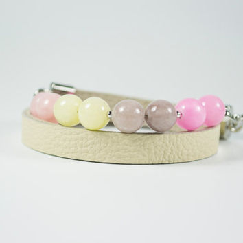 Pastel Colours Jade Beads and Real Leather Two Side bracelet. Mandes Bracelets - Two Side - Real Leather and Natural Stone Beads.