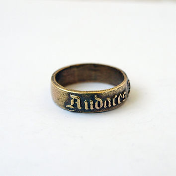 Audaces fortuna juvat ring Metal Brass Casting Ring Size 8