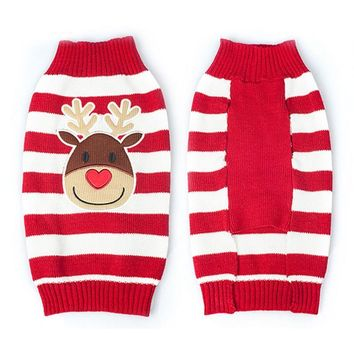 Teddy Poodle knit dog Sweater Christmas New Year Pet dog costume Elk deer Striped Pet Sweater small cat dog clothes Christmas
