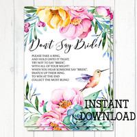 Don't Say Bride Game, Bridal Shower Game, Bridal Shower Activity, Floral Bridal Shower, Watercolor Flowers, Hummingbird, Printable No. 1032