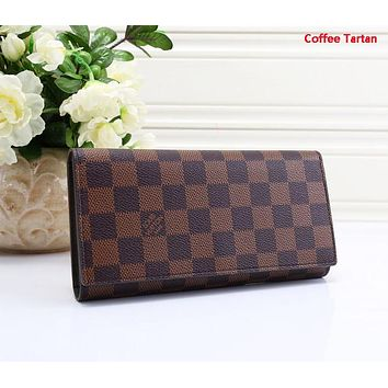 LV Fashion New Monogram Check Print Leather Clutch Wallet Purse Coffee Tartan