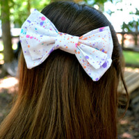 Colorful Paint Splattered Cotton Bow