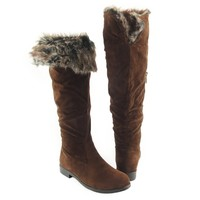 Womens' Over the Knee Faux Fur Collar Knee High Suede Flat Boots Brown