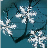 Clear Snowflake Icicle Christmas Lights - 10 Snowflakes On String