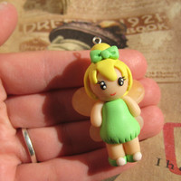 Tinkerbell polymer clay charm necklace